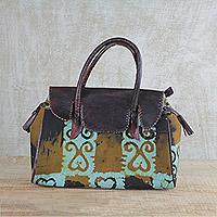 Leather accent cotton handle handbag,
