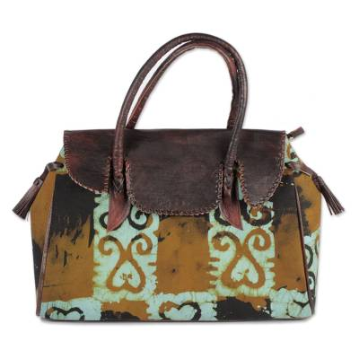 Brown and Sky Blue Leather Accent Cotton Handle Handbag