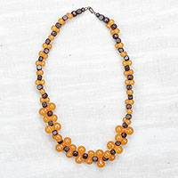 Wood and recycled plastic beaded necklace, 'Bubbly Fashion in Orange' - Wood and Recycled Plastic Beaded Necklace in Orange