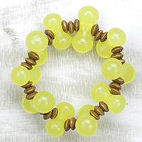 Wood and recycled plastic beaded stretch bracelet, 'Yellow Sunrise' - Wood and Recycled Plastic Beaded Stretch Bracelet in Yellow