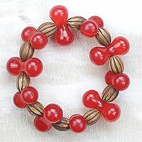 Wood and recycled plastic beaded stretch bracelet, 'Red Queen' - Wood and Recycled Plastic Beaded Stretch Bracelet in Red