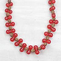 Featured review for Wood and recycled plastic beaded necklace, Red Queen