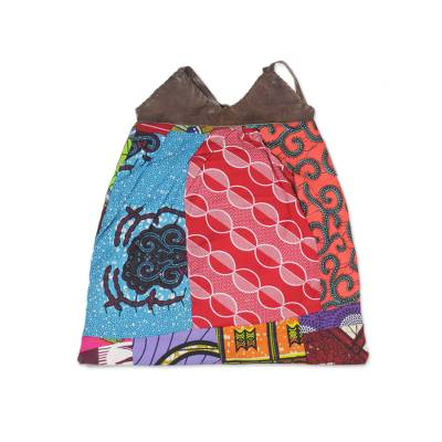 Colorful Patchwork Cotton Shoulder Bag with Leather Straps
