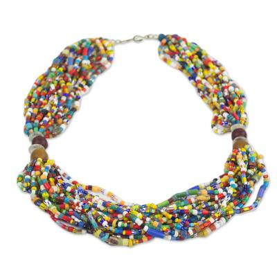 Multi-Colored Recycled Glass and Plastic Torsade Necklace