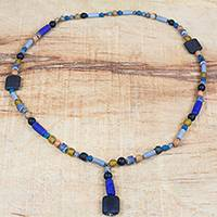 Recycled glass and plastic beaded pendant necklace, 'Authentic Ghana' (Ghana)