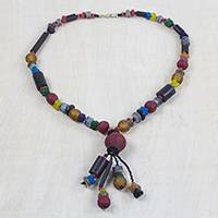 Recycled glass beaded pendant necklace, 'Recycled Medley' - Recycled Glass Beaded Pendant Necklace from Ghana