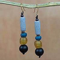 Recycled glass and plastic beaded dangle earrings, 'Authentic Ghana' - Recycled Glass and Plastic Beaded Dangle Earrings