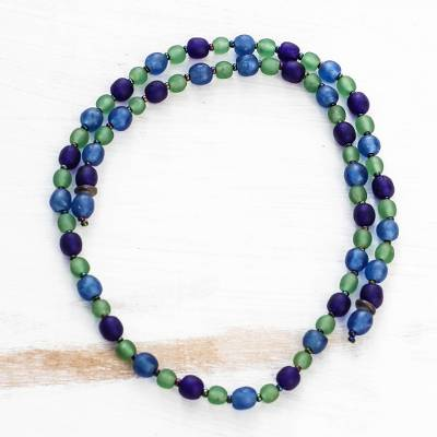 Glass beaded lariat necklace, 'Eco Ocean' - Blue and Green Recycled Glass Lariat Necklace from Ghana