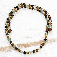 Recycled glass beaded lariat necklace, 'Beautiful Tie' - Recycled Glass Beaded Lariat Necklace from Ghana