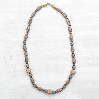 Ceramic and recycled plastic beaded necklace, 'Floral Africa' - Floral Ceramic and Recycled Plastic Necklace from Ghana