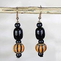 Recycled glass and plastic dangle earrings, 'Divine Harvest' - Black and Orange Recycled Glass and Plastic Dangle Earrings