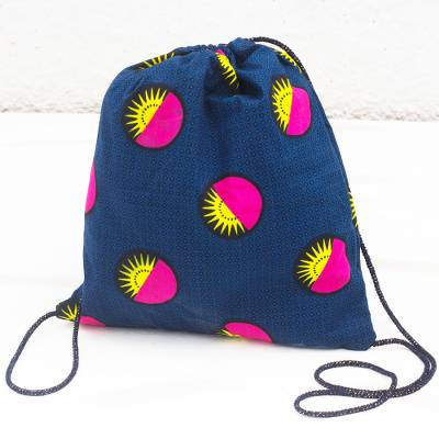 Cotton drawstring backpack, 'Bright Suns' - Blue Cotton Drawstring Backpack with Yellow and Pink Suns