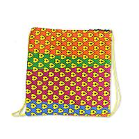 Cotton drawstring backpack, 'Color Love' - Multicolor Heart Motif Cotton Drawstring Backpack from Ghana