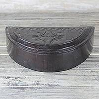 Leather jewelry box, 'Half Moon Luxury' - Espresso Brown Tooled Leather Half Moon Jewelry Box