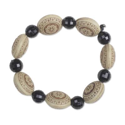 Floral Sese Wood and Plastic Beaded Stretch Bracelet