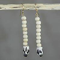Wood dangle earrings, 'Resonate' - Black Sound Wave Pattern on Cream Wood Bead Dangle Earrings