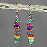 Wood beaded dangle earrings, 'Stacked Color' - Multi-Color Wood Disc Beaded Dangle Earrings from Ghana