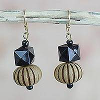 Wood and recycled plastic dangle earrings, 'Geometric Blooms' - Geometric Floral Recycled Sese Wood Dangle Earrings