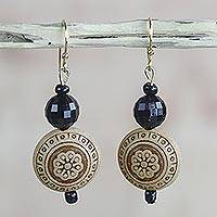 Beaded dangle earrings, 'Highly Favored' - Faceted Floral Recycled Plastic Round Dangle Earrings