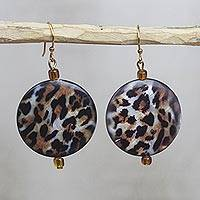 Recycled glass dangle earrings, 'Leopard Style' - Recycled Glass Leopard Motif Earrings from Ghana