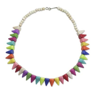 Rainbow Pointed Howlite and Sese Wood Beaded Necklace