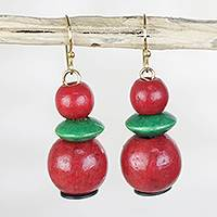 Wood beaded dangle earrings, 'Quiet Strength' - Red and Green Sese Wood and Recycled Plastic Earrings
