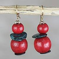 Wood and coconut shell dangle earrings, 'Renewed Love' - Red and Green Sese Wood and Coconut Shell Dangle Earrings