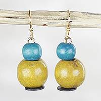 Wood and recycled plastic beaded dangle earrings, 'Welcome Change' - Yellow and Aqua Sese Wood Dangle Earrings with Brass Hooks