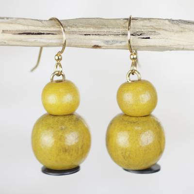 Wood beaded dangle earrings, 'Sunny Optimism' - Yellow Sese Wood and Recycled Plastic Dangle Earrings