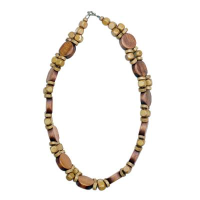 Wood beaded necklace, 'Nature's Palace' - Sese Wood Nature's Palace Boho-Styled Beaded Necklace