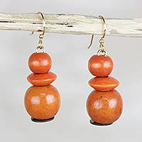 Wood beaded dangle earrings, 'Tropical Sunset' - Orange Sese Wood and Recycled Plastic Dangle Earrings