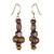 Wood and recycled plastic beaded dangle earrings, 'Boho Queen' - Recycled Plastic and Sese Wood Boho Queen Dangle Earrings (image 2a) thumbail