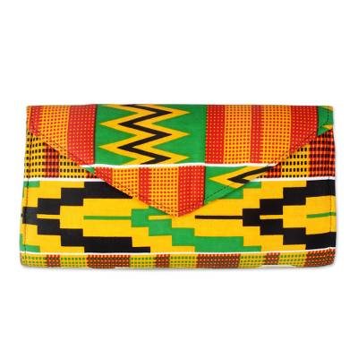 Multi-Colored Kent Dreams Cotton Clutch with Interior Pocket