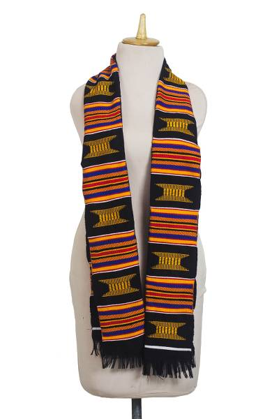 Cotton blend kente cloth scarf, 'Ohemaa Beauty' - Multi-Colored Handwoven Cotton Blend Kente Cloth Scarf