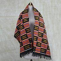Cotton blend kente cloth shawl, 'Royal Kente' - Handwoven Ashanti Throne Royal Kente Cotton Blend Shawl