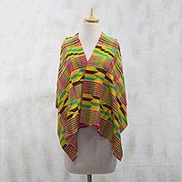 Cotton blend kente cloth shawl, 'Kente Legend' - Multi-Colored Geometric Cotton Blend Kente Legend Shawl