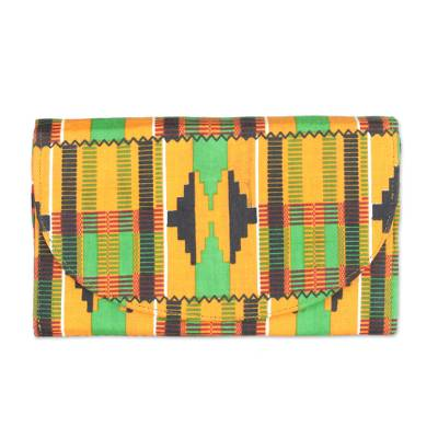 Multi-Colored Kente Print Cotton Clutch with Interior Pocket