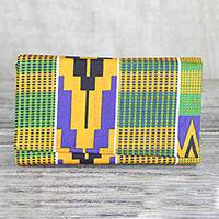 Cotton clutch, 'Kente Geometry' - Colorful Kente Geometry Cotton Clutch with Interior Pockets