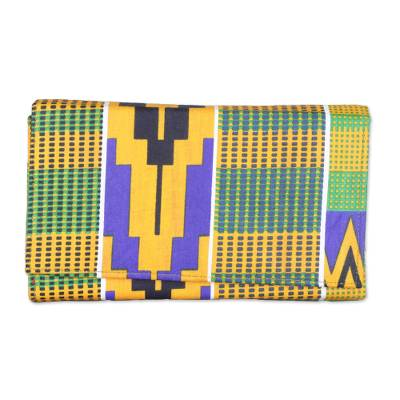 Colorful Kente Geometry Cotton Clutch with Interior Pockets