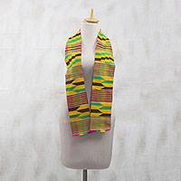Cotton blend kente cloth scarf, 'Kente Queen' - Multi-Colored Geometric Woven Kente Cloth with Fringe