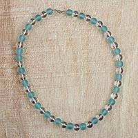Recycled glass beaded necklace, 'Honoring Mother' - Aqua Blue Recycled Frosted and Clear Glass Beaded Necklace