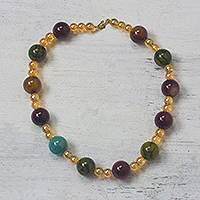 Recycled glass beaded necklace, 'Sweet Festivity' - Multi-Color Recycled Glass Beaded Festive Necklace