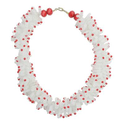 Red and White Recycled Plastic Beaded Necklace from Ghana