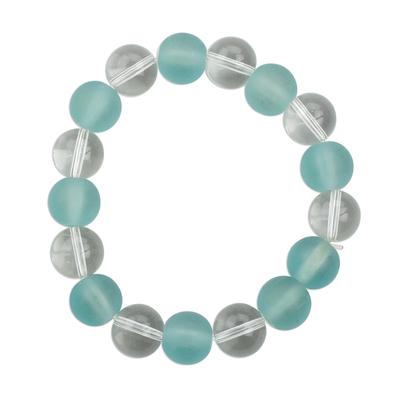 Handmade Aqua Blue and White Recycled Glass Beaded Stretch Bracelet