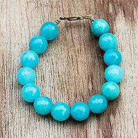 Recycled glass beaded bracelet, 'Captivating Cyan' - Blue Cyan Recycled Glass Beaded Bracelet from Ghana