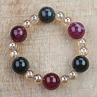 Recycled glass beaded stretch bracelet, 'Great Heart' - Multi-Colored Recycled Glass Beaded Great Heart Bracelet