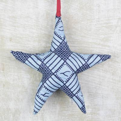 Cotton ornament, 'Star Squares' - Star-Shaped Cotton Ornament from Ghana
