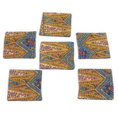 Floral Cotton Coasters from Ghana (Set of 6)