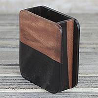 Ebony wood pencil holder, 'Modern Nature' - Hand Carved Ebony Wood Rounded Rectangle Pencil Holder
