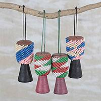 Recycled glass beaded wood and leather ornaments, 'Beaded Drums' (set of 4) - Recycled Glass Wood Beaded Drum Ornaments (Set of 4)